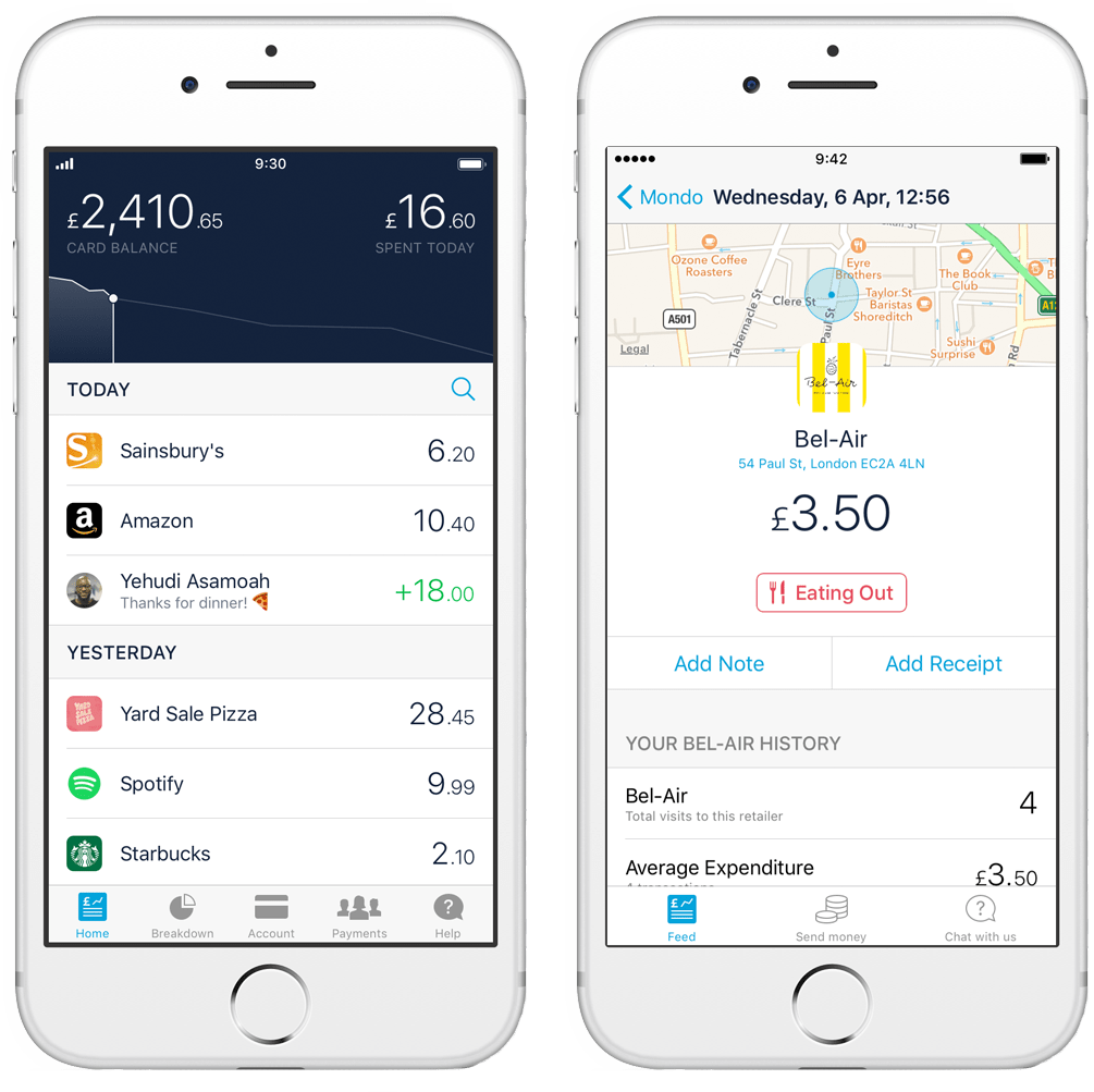 Left: Homepage listing all transactions by day. Right: Information provided per transaction within the Monzo mobile app