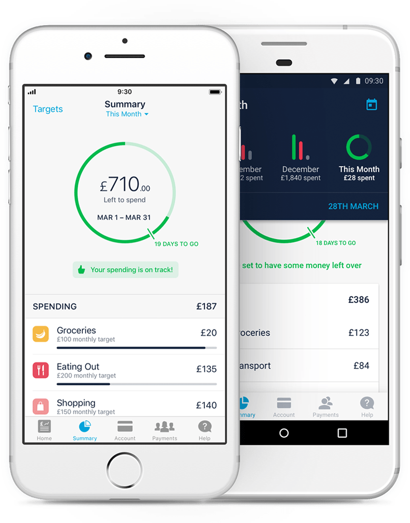 Data visualisation infographics within the Monzo mobile app
