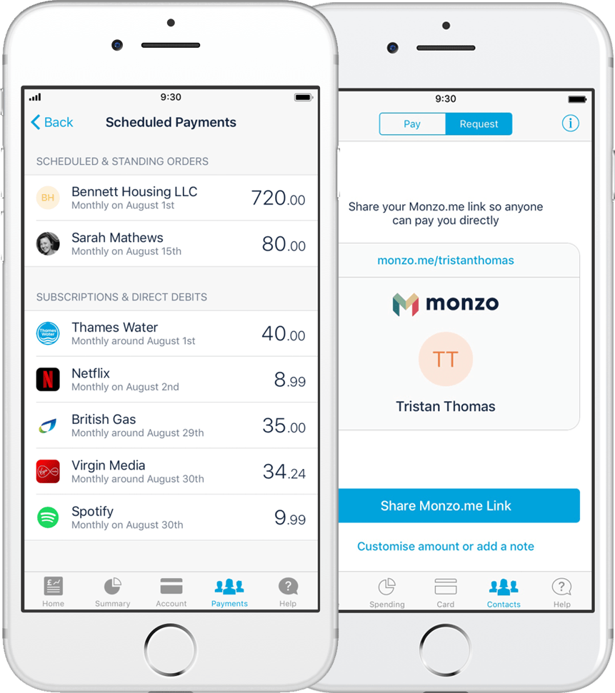 Payment section on the Monzo mobile app